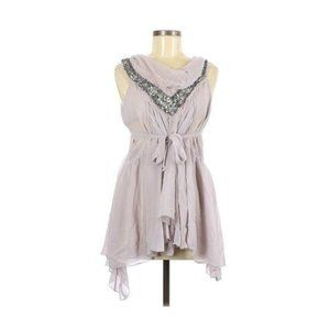 Love Stitch Gray Embellished Sleeveless Blouse